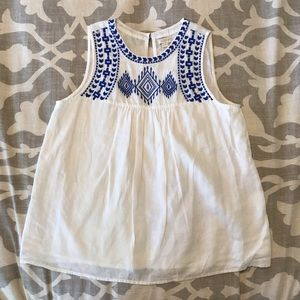 J. Crew linen top with blue boho embroidery size 2